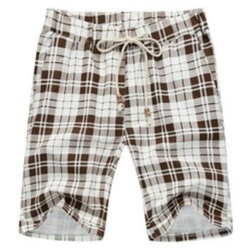 Loose Plaid Lace Up Fifth Pants Beach Shorts For Men