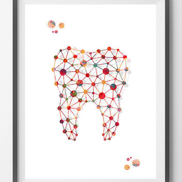 Molar Tooth art print abstract molar watercolor poster human anatomy art medical dental illustration, molar giclee print