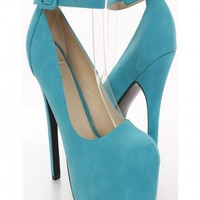Turquoise Faux Leather Platform Heels