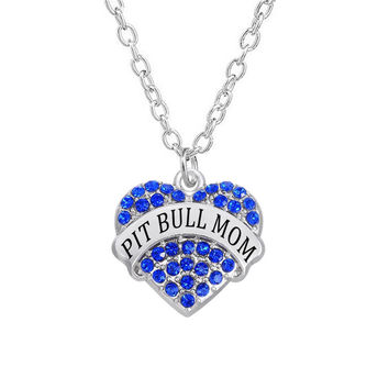 Crystal Stone Charm Hearts Pit Bull Mom Necklace