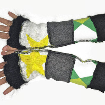Upcycled Fingerless Gloves Yellow Black Green Grey Armwarmers Recycled Wrist warmers Stripe Gloves Knit Gloves Fingerless Mittens