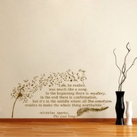 Housewares Vinyl Decal Quote Nicholas Sparks Dandelion Feather Musical Notes Home Wall Art Decor Removable Stylish Sticker Mural Unique Design for Any Room