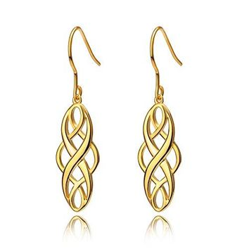 AUGUAU S925 Silver Earrings Solid Sterling Silver Polished Good Luck Irish Celtic Knot Vintage Dangles