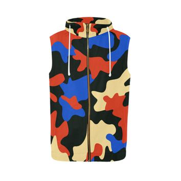 Modern Camouflage Camo Sleeveless Zip Up Hoodie For Men