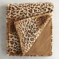 Faux Fur Leopard Throw