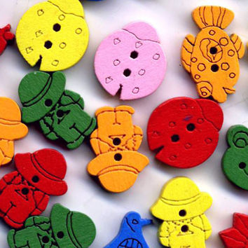 Kids Wooden Novelty Buttons:  60 Bright and Colorful Buttons