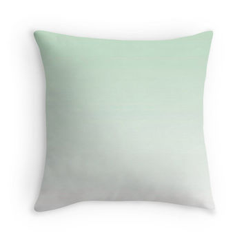 Modern Mint Green Ombre Pillow Cover, 16x16, 18x18, 20x20, Minimal