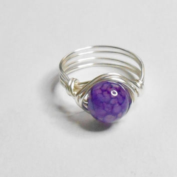 Purple Dragon Veins Gemstone Silver Plate Wire Wrapped Ring Sizes 1-14