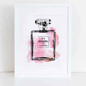 Chanel No5 water colour digital art in pink