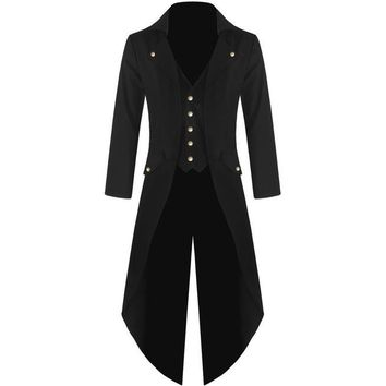 YJSFG HOUSE New Mens Tuxedo Coat Steampunk Vintage Tailcoat Jacket Gothic Frock Coat Top Windbreaker Suit Weeding X-Long Outwear