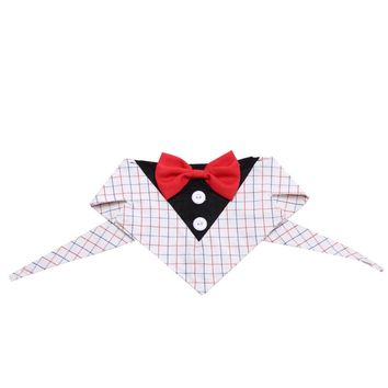 Pets Dog Neckties Collar Puppy Adjustable Suit Collar Tie for Party Accessories (Plaid)