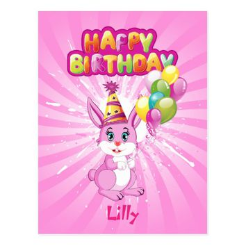 Pink Bunny Birthday Cartoon Postcard