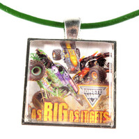 Monster Truck Pendant - Monster Jam - Glass Pendant - Boys Jewelry - Leather Cord