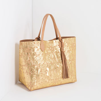 EMBOSSED METALLIC LEATHER TOTE - Shoulder bags-BAGS-WOMAN | ZARA United Kingdom