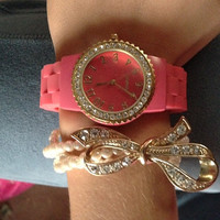 Gold and Coral Quartz watch with pearl bracelet with gold bow womens hot wristlet