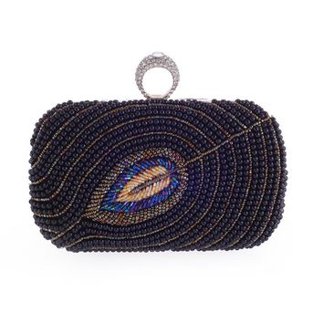 Women Evening Bag Beading Feathers Pattern Lady Wedding Purse Chain Pearl Clutches Weddings Shoulder Bags for Women 2017