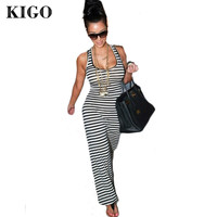 2016 Summer Dress Kim Kardashian O Neck Sleeveless Black and White Long Striped Dress Plus Size Maxi Dress Robe Longue Femme