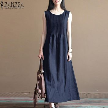 2018 ZANZEA Women Summer Dress O Neck Sleeveless Pleated Party Beach Baggy Vestido Cotton Linen Maxi Long Dress Plus Size Robe
