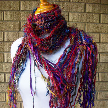 Sari Silk Scarf Fringe Accents Multicolored Jewel Tones Funky Style