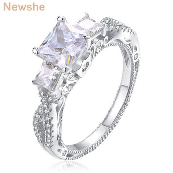 Newshe 1.8 Carats Princess Cut AAA CZ Genuine 925 Sterling Silver Wedding Ring Stunning Jewelry For Women