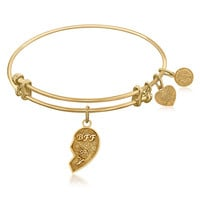 Expandable Bangle in Yellow Tone Brass with Best Friends Symbol
