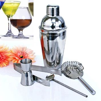 5Pcs/set 350ml Stainless Steel Cocktail Shaker Set Mixer Drink Hawthorn Strainer Ice Tongs Mixing Spoon Cup Kitchen Bar Tool