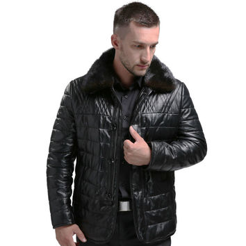 Genuine Leather Coat Men Winter Warm Real Leather White Duck Down Coat Mink Fur Collar Leather Jacket Thick