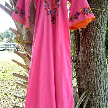 Pink embroidered vintage dress Bright colorful long girly summer mexican dress Xs S. Boho Hippie.