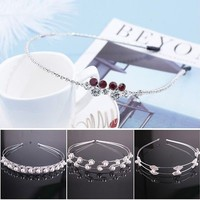 Fashion Women Crystal Rhinestone Crown Pearl Headband Head Piece Hair Band