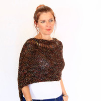 Brown poncho, handknit wrap, Eudora Neckline, loose knit poncho, ready to ship