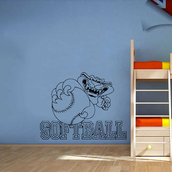 Panther With Softball Text Vinyl Decals Wall Sticker Art Design Kids Children Nursery Room Nice Picture Home Decor Interior ki321