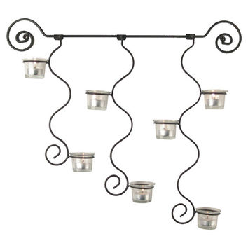 Curly Wall Sconce Candle Holder in Black