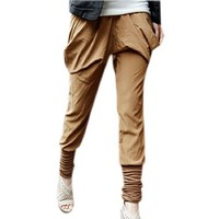 Allegra K Ladies Shirred Cuff Boho Style Leisure Elastic Waist Baggy Pants
