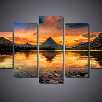 Two Medicine Lake 5-Piece Wall Art Canvas