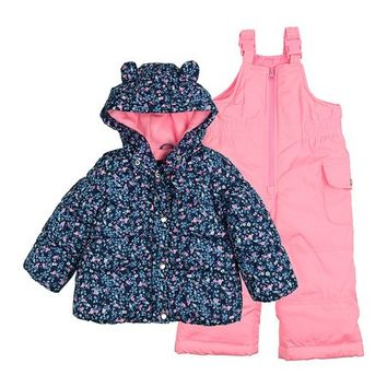 Carter's Navy Floral Puffer Coat & Pink Bib Pants - Infant & Toddler
