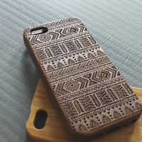 Walnut wood iphone 5 case iphone 5s case aztec iphone 5 case