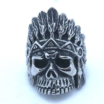 Native American Cool Indians Silver Gothic Skull Ring