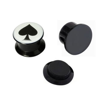 Kadima Body Piercing Jewelry One Pair (2pcs) Black Acrylic Spade Poker Screw Fit Ear Plugs - 00G(10MM)