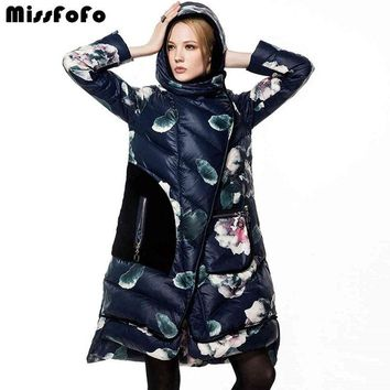 Women Down Coat Jackets Fashion Winter Long Coat Female Duck Down Jacket Floral Casual Velvet Thick Parka