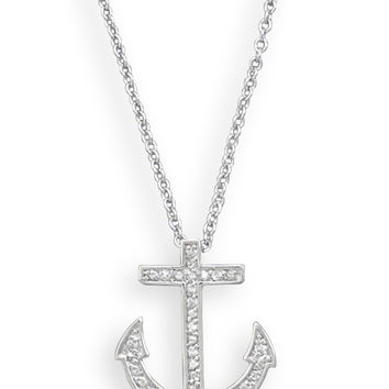 """18"""" Rhodium Plated CZ Anchor Necklace"""