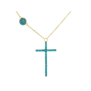 "Silver 18k Gold Plated Nano Turquoise Cz Cross & Circle  Pendant Necklace 16""+2"""