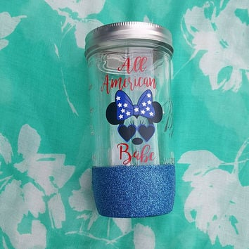 Fourth of July Cup, Fourth of July Mason Jar, Disney Mason Jar, Minnie Mouse, All American Babe, 4th of July Cup,  Glitter Mason Jar,