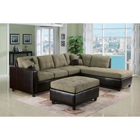 Pebble Easy Rider Espresso Bycast Sectional Sofa Right Chaise Ottoman