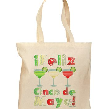 Margaritas - Mexican Flag Colors - Feliz Cinco de Mayo Grocery Tote Bag by TooLoud