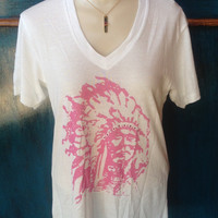 Pink Indian V-Neck with Bling women's t-shirt