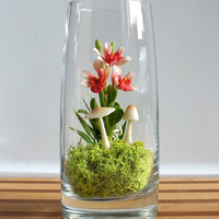 Exotic Red Dendrobium Orchid Terrarium in by MissMossGifts on Etsy