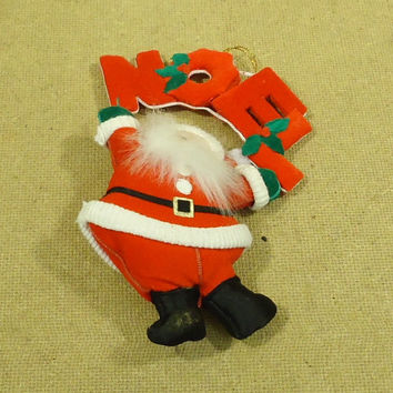 Standard Santa Christmas Tree Ornament 7 1/2in x 5in Red/White/Green Felt -- Used