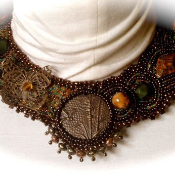 Bead Embroidered Collar-  Steampunk