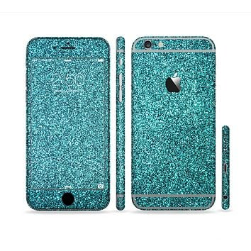 The Teal Glitter Ultra Metallic Sectioned Skin Series for the Apple iPhone 6 Plus