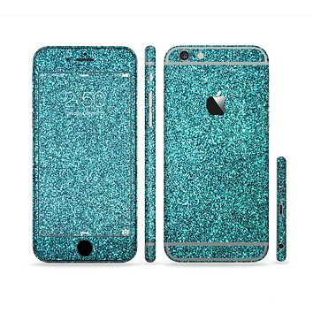 The Teal Glitter Ultra Metallic Sectioned Skin Series for the Apple iPhone 6